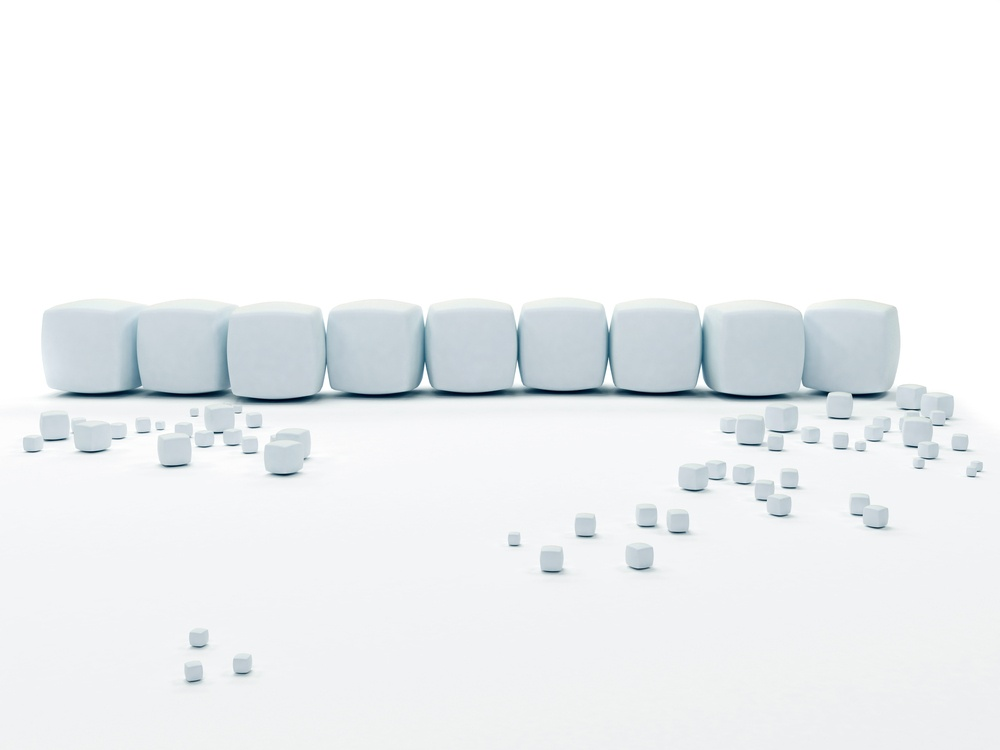 Snow cubes isolated over a white background